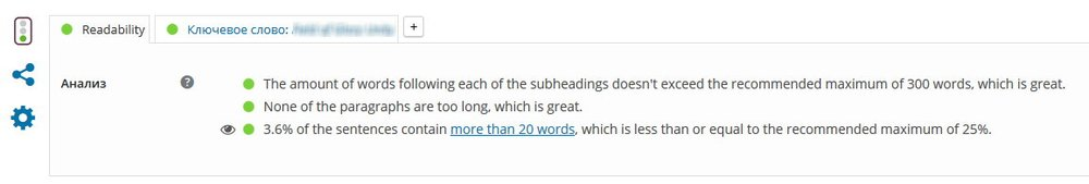 Yoast SEO Читабельность записи (Post Readability)