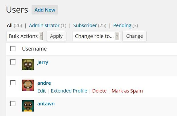 Spam User Management