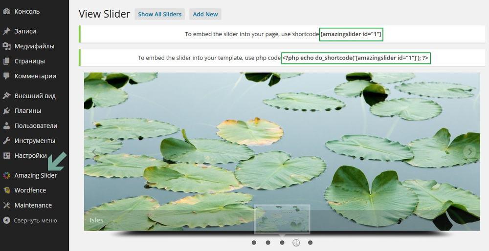Переходим в новый раздел админки - Amazing Slider