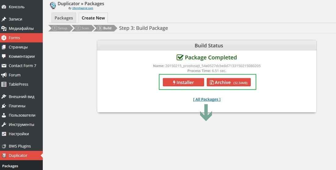 Как перенести WP сайт с помощью плагина Duplicator?