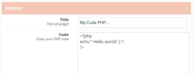 Code PHP in Widget