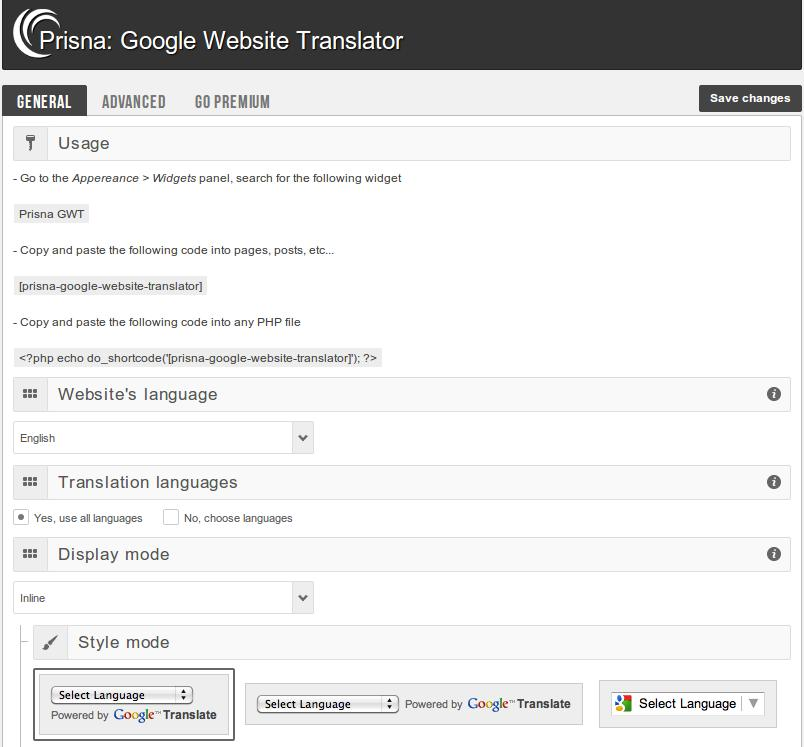 Google Website Translator by Prisna.net