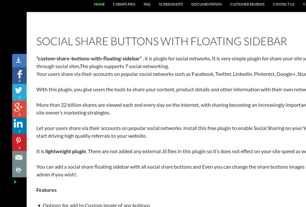 Custom Share Buttons with Floating Side