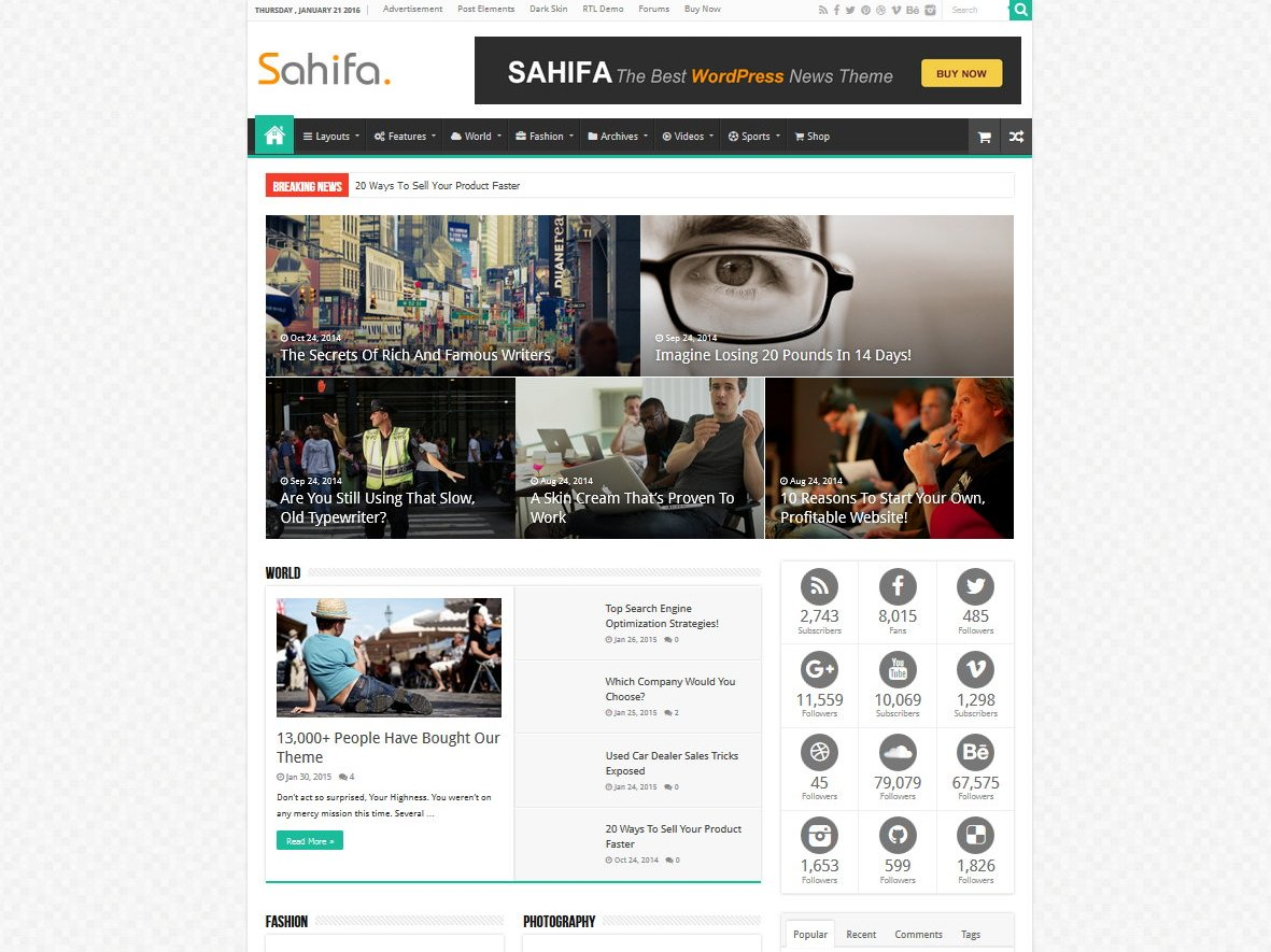 Sahifa - Responsive WordPress Newspaper Theme