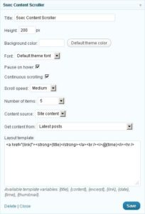 5sec Content Scroller Widget